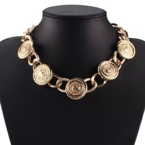 Gold Medallion Link Chain Necklace
